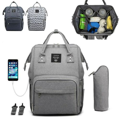 LEQUEEN Baby Diaper Bag Mummy Maternity Nappy Traveling USB Port Backpack Tote