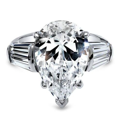 BERRICLE Sterling Silver Pear Cut Zircone cubique 3-Pierre anniversaire bague de fiançailles