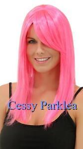 Neon Long Costume Fancy Dress Up Wigs Black Orange Purple Pink Blue Brown Red