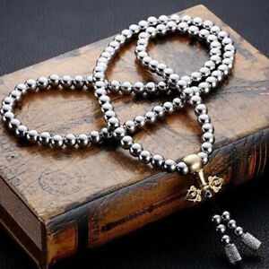 Outdoor-Stainless-Steel-Titanium-108-Buddha-Beads-Necklace-Chain-Self-Defe-IO