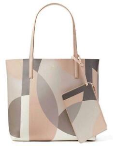 NWT-Kate-Spade-Mya-Geometric-Beige-Leather-Tote-Pouch-Arch-Pl-WKRU5542-299