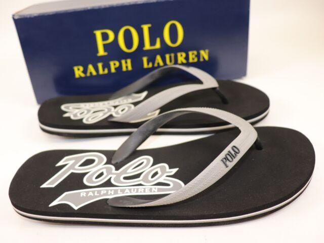 519042603109 NWT RALPH LAUREN Size 12 Mens Black Grey POLO WHITLEBURY II Flip Flop Sandal