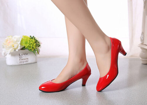New Women/'s Patent Leather Pointed Toe Heel Pump Shoes Work Shoes Slip On Pumps