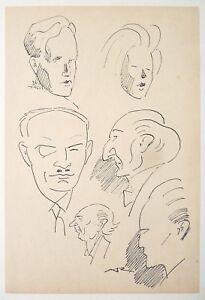 Dessin-original-de-Auguste-ROUBILLE-Art-Deco-Caricature-vers-1930