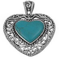 Antique Style Turquoise Heart .925 Sterling Silver Pendant on sale