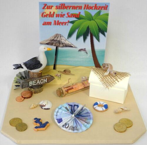 Maritim Geschenk Truhe Geld wie Sand am Meer Geldgeschenk Silberhochzeit