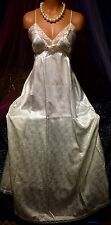 Vintage Christian Dior Sheer Lace Ivory Satin Long Sweep Plunge Gown M