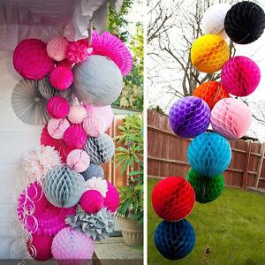 Honeycomb Balls 10PCS Tissue Paper Lanterns Wedding Party Pom Poms Hanging Decor