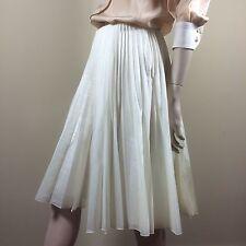 CELINE Damen Rock Gr M 38 Creme Weiß Plissee Trend Seide Hochzeit Luxus Skirt