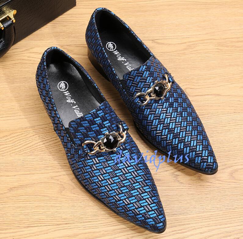 clienti prima reputazione prima Classic Uomo Business Business Business Formal Dress Leather scarpe Rhinstones Pointed Toe Slip On  con il 60% di sconto