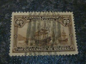 CANADA POSTAGE STAMP SG195 20 CENTS 1908 DULL BROWN ROLLER CANCEL FINE USED