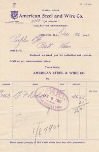 U.S. American Steel and Wire Co. Trade Mark Chicago 1901 Paid Invoice Ref 42386