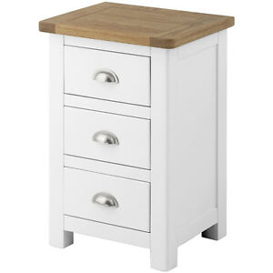 Image Is Loading Padstow White Painted Bedside Table Solid Wood