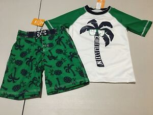 NWT Gymboree Swim Shop Rashguard Pug Dog Swim Trunks Set Baby Toddler Boy