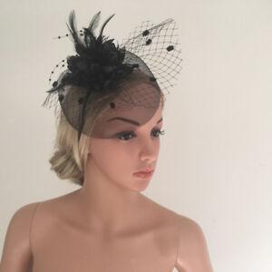 086be333add Image is loading Vintage-Ladies-Black-Mini-Hat-Feather-Fascinator-Wedding-