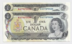 2-x-Sequential-1973-1-Bank-of-Canada-Notes-BAE7875433-4-UNC