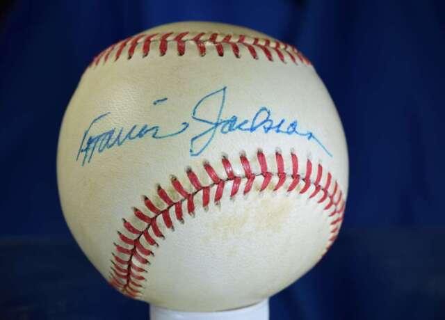 TRAVIS JACKSON JSA HAND SIGNED FEENEY NATIONAL LEAGUE AUTOGRAPH BASEBALL