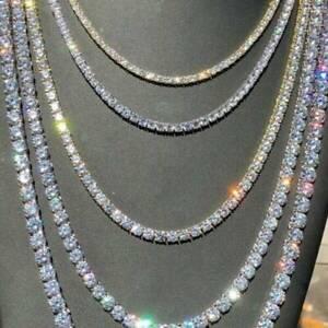 Crystal-Diamond-Gold-Silver-1-Row-Men-Hip-Hop-Tennis-Necklace-Choker-Chain-Gift