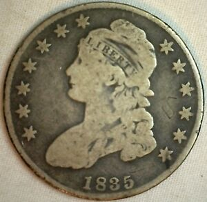 1835-Early-Capped-Bust-Silver-Half-Dollar-Lettered-Edge-US-Type-Coin-Damaged-K