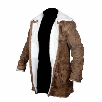 Buffing Brown Trench Coat Bane Dark Knight Rise Real Cowhide Leather Jacket.