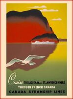 Saguenay & St. Lawrence Rivers Canada Canadian Travel Advertisement Poster