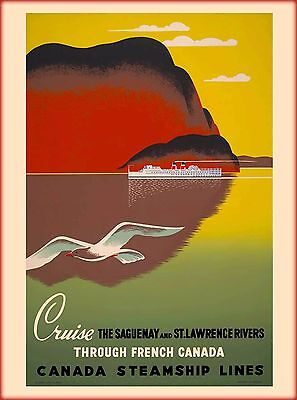 Lawrence Route to Europe Cruise Canada Canadian Travel Advertisement Poster St