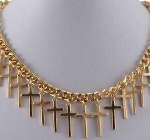 GOLD-TONE-CHUNKY-CHAIN-NECKLACE-WITH-DROP-CROSS-CHARMS