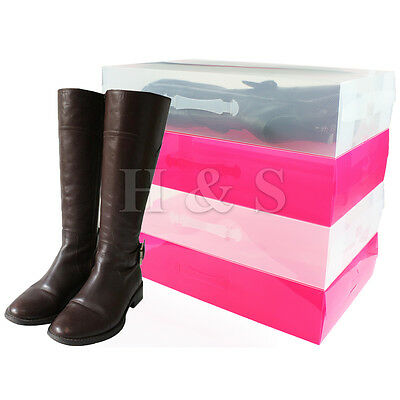 5 X Heavy Duty Plastic Knee High Boot Shoe Storage Box Stackable Foldable