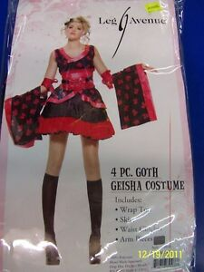 Image is loading 4-pc-Goth-Geisha-Black-Dress-Asian-Leg-  sc 1 st  eBay & 4 pc. Goth Geisha Black Dress Asian Leg Avenue Halloween Sexy Teen ...