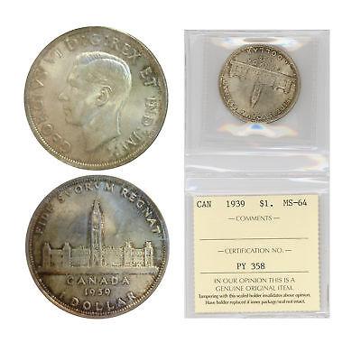 Canada Silver Dollar 1939 Graded by ICCS