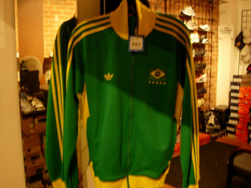 Adidas Copa FIFA, Original Retro World Brasil Chaqueta para hombre de fútbol 1978, Brasil (L)