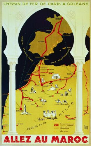 6224 Wall Art Decorative. Chemins de Fer de Paris Allez au Maroc Travel POSTER