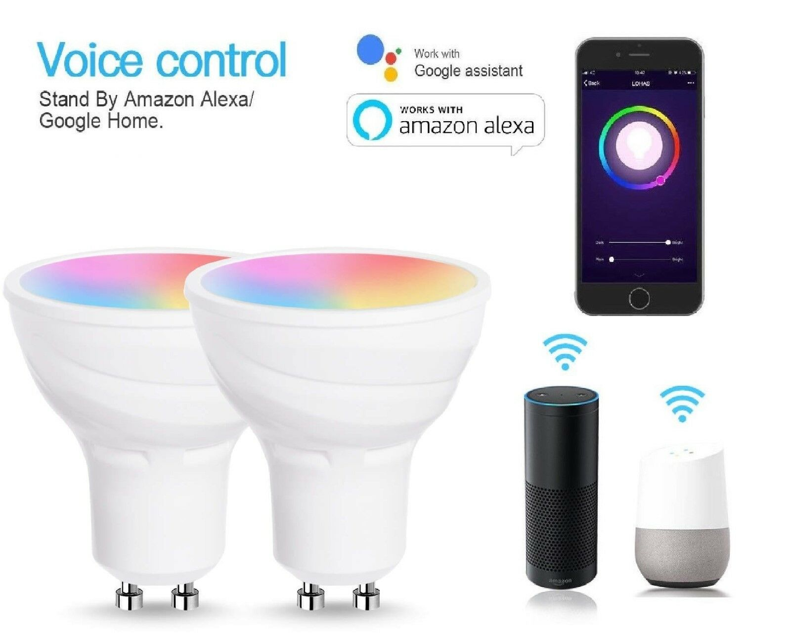 WiFi GU10 Smart Light Bulbs, Works with Alexa and Google Home,