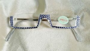 NEW-STYLE-SASSY-READING-GLASSES-TANZANITE-CRYSTALS-1-50-READERS