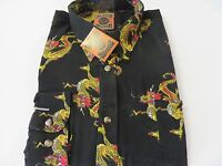 Dagacci Mens Dress Shirt Perma Press Polyester Black Dragon Peach Skin M-2xl