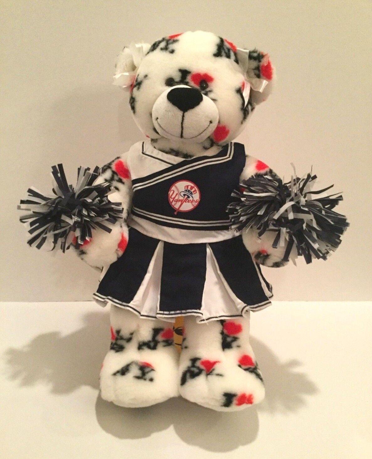 Build a Bear I Love Nuovo York Yankees Cheerleader bianca Bear Plush 18  Tall