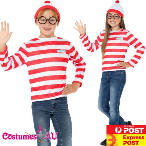 Licensed Child Where/'s Wally Waldo Costume Girls Boys Wheres Book Week T-Shirt