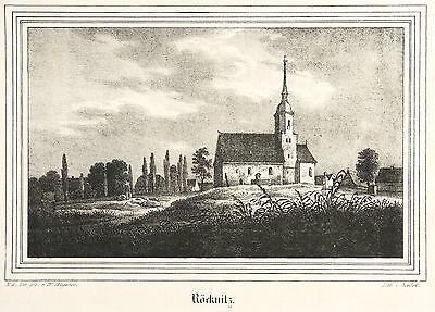RÖcknitz (thallwitz) - St. Nikolaus Kirche - Kirchen-galerie - Lithografie 1840 Aromatischer Geschmack