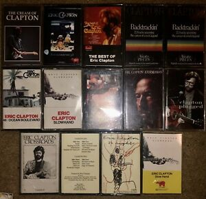 LOT-OF-14-DIFFERENT-ERIC-CLAPTON-CASSETTE-TAPES-Some-paper-label-imports