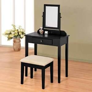 Bedroom Vanity Makeup Table Mirror Bench Stool Set Storage ...
