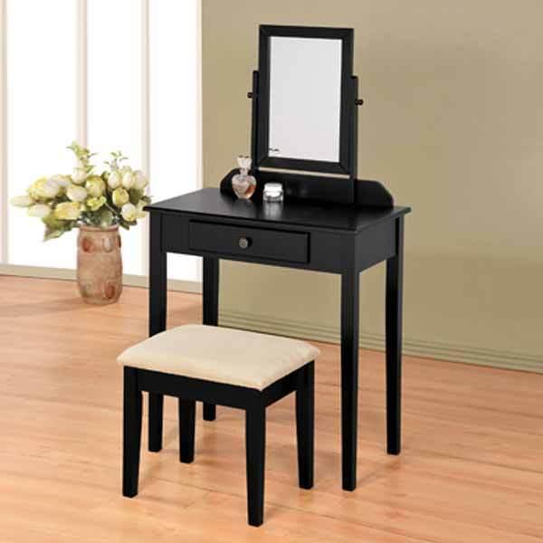 Bedroom Vanity Makeup Table Mirror Bench Stool Set Storage Drawer Wood Black