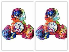 Lot of 2 New Paint Splatter Fidget Spinners ADHD Multi Color Tie Dye With Boxes