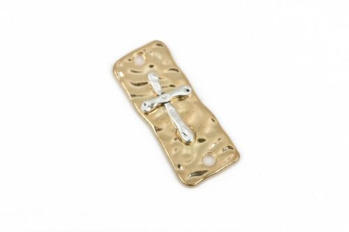 5 CROSS Charms Pendants 2-hole bracelet connector links gold silver chg0423a