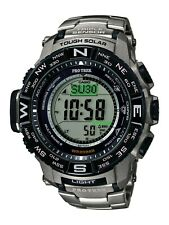 Casio Pro Trek Men's Tough Solar Silver-Tone Titanium Band 56mm Watch PRW3500T-7