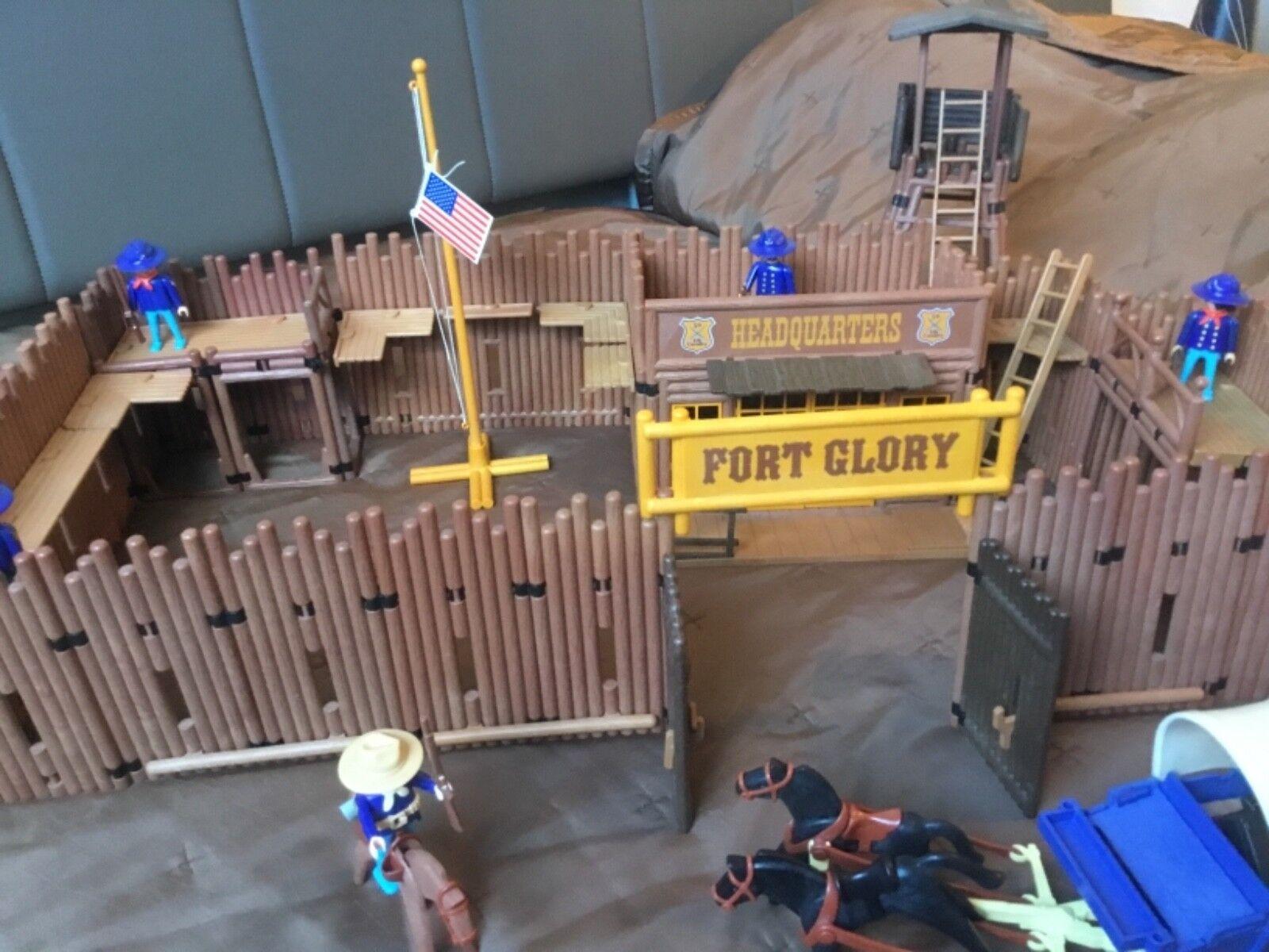2 Playmobil Western Nordstaatler Fort Glory + Erweiterung + viel Zubehör Unikat
