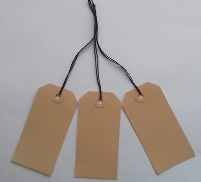 White Strung Tie On Tags String Luggage Labels Wedding Craft Gift 108mm x 54mm
