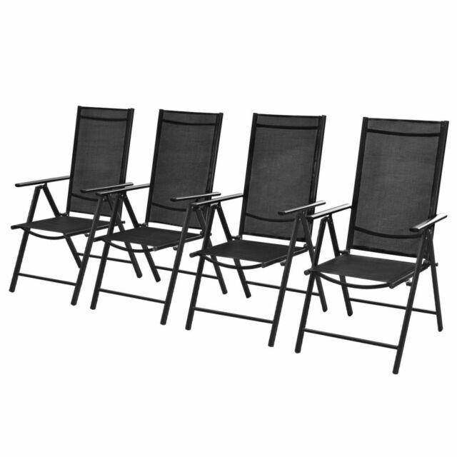 vidaXL 4x Chaises d'Extérieur Aluminium Noir Chaise Longue de Jardin Terrasse