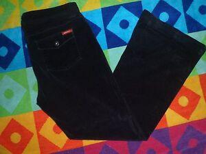GUESS-JEANS-Black-VELVET-like-Corduroy-Pants-STRETCH-Button-Flap-Pkt-sz-31-34x30