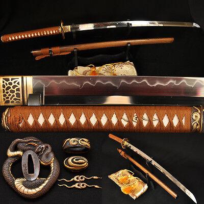 "41"" Japanese Samurai Sword Katana Clay Tempered Blade Python Tsuba Hualee Saya"