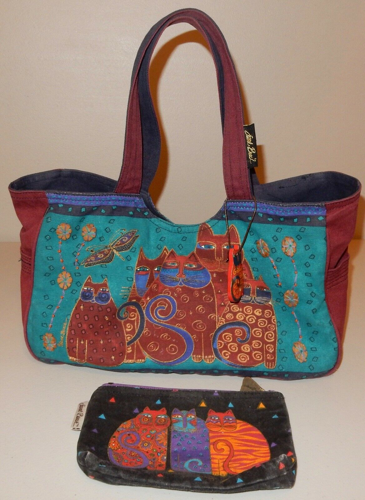 Laurel Burch Cat Tote Bag & Pouch Used - image 1